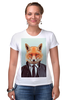 """Футболка Стрэйч (Женская) """"Деловой лис"""" - модно, стильно, лис, fox, лиса"""