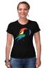 """Футболка Стрэйч (Женская) """"Rainbow Dash Black"""" - pony, rainbow dash, mlp, my little pony, пони, brony, мой маленький пони, брони"""