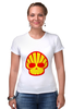 """Футболка Стрэйч (Женская) """"Shell Skull"""" - skull, череп, прикол, супер, стиль, логотип, shell"""