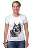 """Футболка Стрэйч (Женская) """"Добродушный волк"""" - хищник, animal, волк, wolf"""