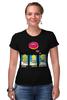 """Футболка Стрэйч (Женская) """"Homer Simpson & Donut"""" - симпсоны, гомер симпсон, the simpsons, donut"""