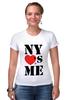 """Футболка Стрэйч (Женская) """"NY"""" - i love, ny, nyc"""