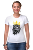 "Футболка Стрэйч (Женская) ""Лев в короне"" - king, корона, лев, lion, царь зверей, crown"