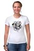 """Футболка Стрэйч (Женская) """"Абстрактные цветы"""" - авторские майки, цветы, узор, винтаж"""