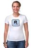 "Футболка Стрэйч ""Rockstar Light-Blue"" - женская, grand theft auto, gta, rockstar, гта, rockstar games, video games, майки из игр"