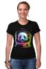 """Футболка Стрэйч (Женская) """"Панда Космонавт"""" - панда, космос, абстракция, астронавт, космонавт"""