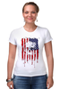 "Футболка Стрэйч ""Американский череп"" - usa, америка, флаг, череп, skull"