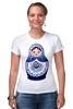 """Футболка Стрэйч """"Матрешка"""" - матрешка, russian doll, символ россии"""