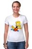 "Футболка Стрэйч (Женская) ""The Simpsons"" - симпсоны, the simpsons, барт, барт симпсон"