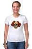 """Футболка Стрэйч """"Mrs. Skull"""" - череп, цветы, рисунок"""