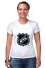 """Футболка Стрэйч (Женская) """"Национальная Хоккейная Лига"""" - хоккей, nhl, нхл, национальная хоккейная лига, national hockey league"""