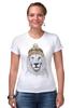 """Футболка Стрэйч """"Лев в шапке"""" - лев, lion, царь зверей"""
