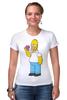 """Футболка Стрэйч (Женская) """"Homer Simpsons"""" - прикольные"""