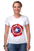 "Футболка Стрэйч (Женская) ""Captain America "" - капитан америка, captain america"