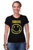 "Футболка Стрэйч (Женская) ""Nirvana"" - nirvana, рок, kurt cobain, курт кобейн, нирвана"