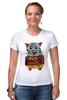 """Футболка Стрэйч (Женская) """"кот суши"""" - кот, cat, суши, япония"""