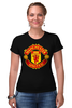 "Футболка Стрэйч (Женская) ""Manchester United "" - красные, манчестер юнайтед, red devils, mu, manchester united, красные дьяволы, the reds, мю"