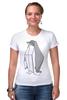 """Футболка Стрэйч (Женская) """"Пингвин Оригами"""" - пингвин, оригами, origami, penguin"""