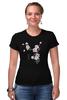 """Футболка Стрэйч (Женская) """"Японская сакура"""" - цветы, вишня, иероглифы, сакура"""