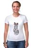 """Футболка Стрэйч (Женская) """"Мяу мяу мяу"""" - кот, кошка, очки, хипстер, мяу"""