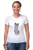 """Футболка Стрэйч (Женская) """"Gansta cat"""" - кот, арт, cat, девушке, хипстер"""