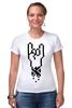 """Футболка Стрэйч (Женская) """"Rock 8-bit"""" - geek, пиксель арт, 8-бит, коза, пиксельная графика"""