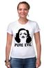 "Футболка Стрэйч (Женская) ""Pure Evil"" - граффити, дизайн, винтаж, марлен дитрих, pure evil"