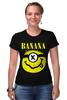 """Футболка Стрэйч (Женская) """"Миньон (Banana)"""" - nirvana, пародия, нирвана, minion, банана"""