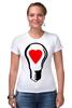 "Футболка Стрэйч (Женская) ""BIG LAMP! SWITCH ON YOUR LOVE!"" - сердце, любовь, lamp, zogs, switch on your love"