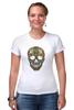 """Футболка Стрэйч (Женская) """"Череп"""" - skull, череп, узор, паттерн, символ, дудл"""