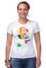 """Футболка Стрэйч (Женская) """"Креативный портрет"""" - авторские майки, smile, рисунок, улыбайся, color"""