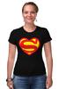 """Футболка Стрэйч (Женская) """"Я люблю Супермена"""" - супермен, комиксы, superman, супергерои"""