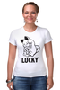 """Футболка Стрэйч (Женская) """"Манэки-Нэко (Кот Счастья)"""" - удача, cat, lucky, кот счастья, манэки-нэко"""