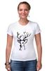 """Футболка Стрэйч (Женская) """"dear deer"""" - графика, олень, deer, tseart"""