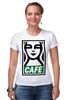 "Футболка Стрэйч (Женская) ""Starbucks (Obey)"" - кофе, obey, starbucks, старбакс, cafe"