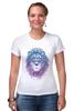 """Футболка Стрэйч (Женская) """"Лев_Арт"""" - царь, king, лев, король, lion, animal, leo, львы"""