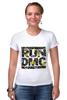 """Футболка Стрэйч """"RUN DMC"""" - rap, цветы, нью-йорк, хип-хоп, run, dmc, nyc, run dmc, ран ди-эм-си"""