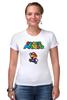 "Футболка Стрэйч (Женская) ""Super Mario"" - mario, dendy, марио, mario bros, 8bit"