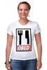 """Футболка Стрэйч (Женская) """"ОБЕД"""" - obey, обед, obed"""