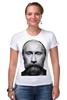 """Футболка Стрэйч (Женская) """"ВВП с бородой"""" - путин, борода, putin, beard"""