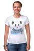 """Футболка Стрэйч (Женская) """"Панда"""" - панда, panda, свитер"""