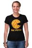 """Футболка Стрэйч (Женская) """"Пак-Пицца"""" - еда, игры, pac-man, пицца, пакмен"""