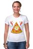 """Футболка Стрэйч (Женская) """"Кусочек Пиццы (Pizza)"""" - пицца, pizza, колбаска, яичко"""