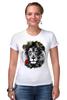 """Футболка Стрэйч (Женская) """"Лев и роза"""" - лев, lion, царь зверей"""