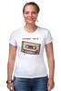 "Футболка Стрэйч (Женская) ""Кассета1 ж"" - кассета, 90's, cassette tape, компакт-кассета, аудио"