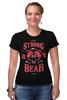 """Футболка Стрэйч (Женская) """"Медведь"""" - арт, bear, медведь, иллюстрация, оскал"""