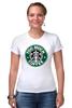 "Футболка Стрэйч ""Too Much Coffee"" - пародия, starbucks, старбакс, слишком много кофе"