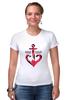 """Футболка Стрэйч (Женская) """"Красный якорь"""" - море, якорь, anchor, sailor"""