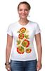 """Футболка Стрэйч """"Хохлома"""" - арт, цветы, хохлома"""