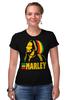 """Футболка Стрэйч (Женская) """"Боб Марлей (Bob Marley)"""" - регги, боб марли, bob marley, reggae, ska, jamaica"""